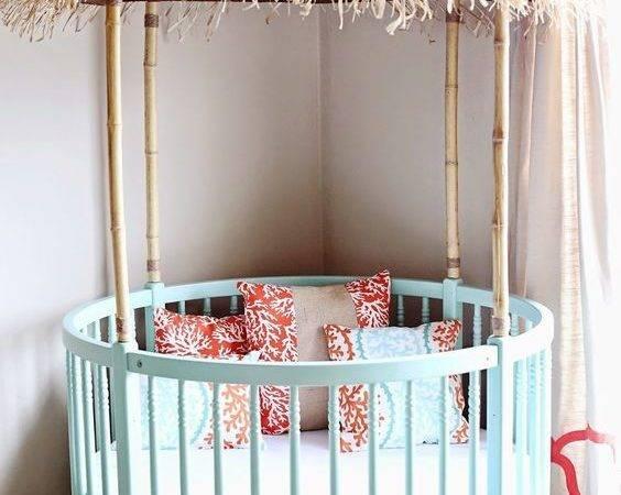 Awesome Tiki Hut Crib Mint Green Orange Accents