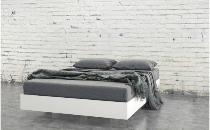 Axon Modern Floating Style White Platform Bed Frame
