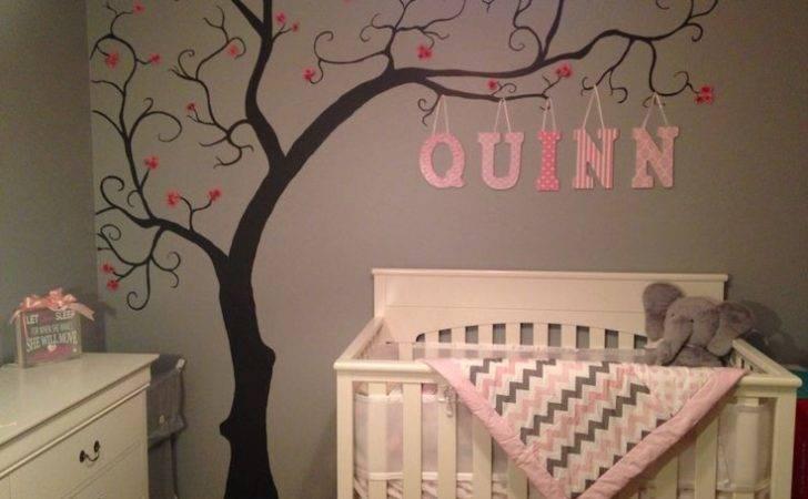 Baby Girl Nursery Grey Pink White Tree Art Wall Mural Quinn