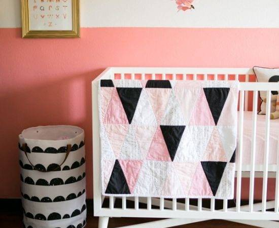 Baby Pink Half Painted Wall Decor Idea