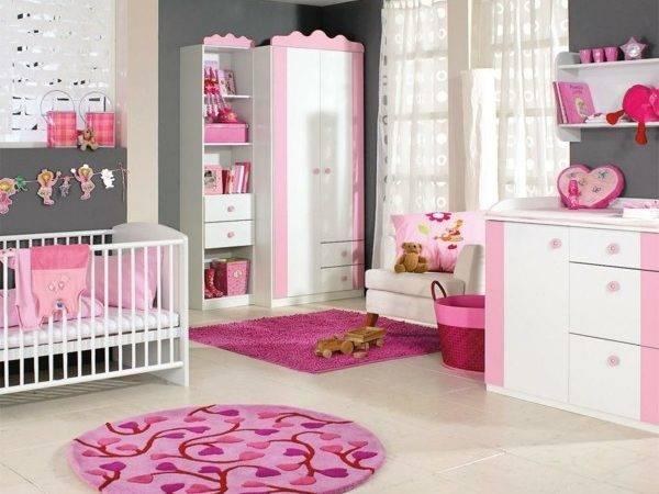 Babyzimmer Einrichten Deko Ideen Rund Teppich Rosa