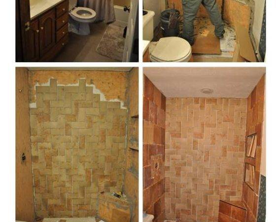 Back Bath Glass Shower Doors Herringbone Tile Showers Diy