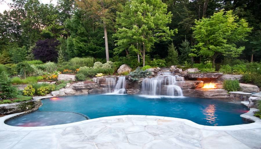 Back Inground Pools Waterfalls