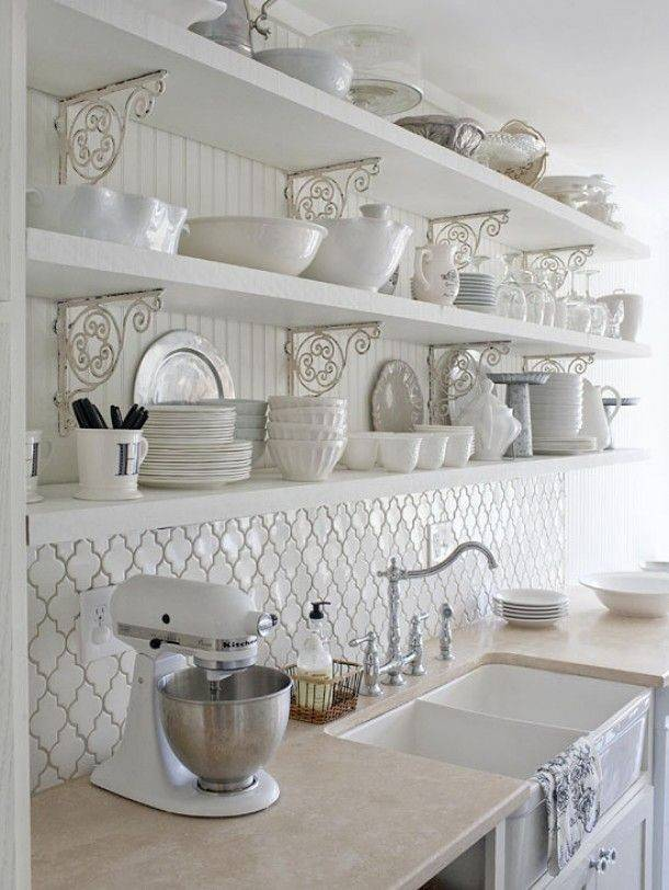 Backsplash Open Shelves Beautiful Brackets Farmhouse Sink
