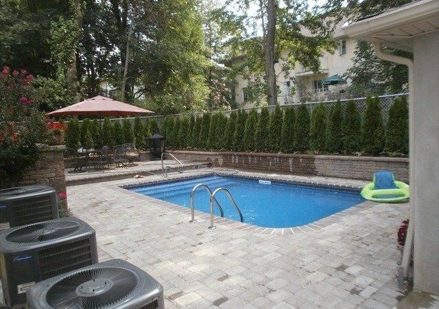 Backyard Inground Pool Brick Pavers After
