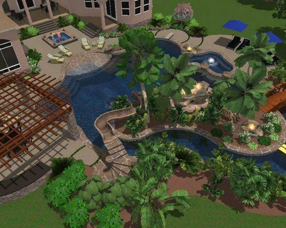 Backyard Lazy River Oasis Pool Ideas