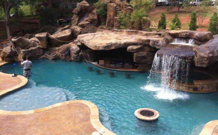 Backyard Oasis Pools Custom Pool Faux Rock Grotto Slide