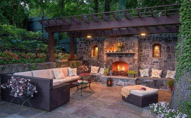 Backyard Retreat Outdoor Fireplace Seating Surrounded Raised