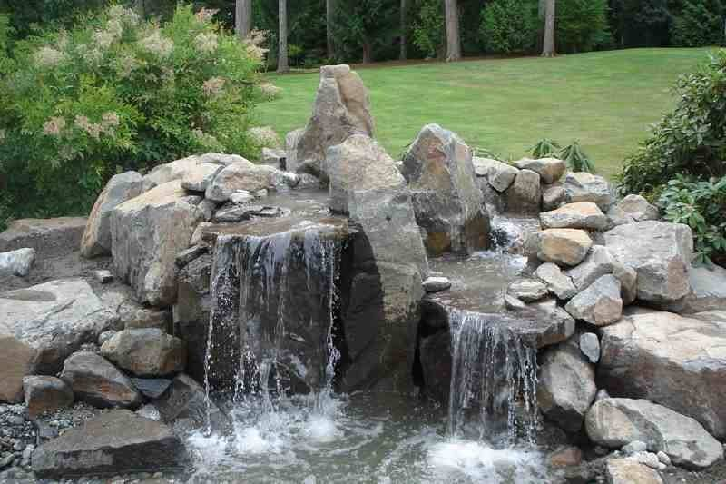 Backyard Rock Waterfalls Outdoor Furniture Design Ideas