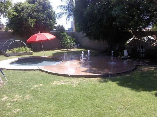 Backyard Splash Pad Slab Patio Needed Great