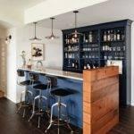 Bar Stools Modern Basement Ideas Blue