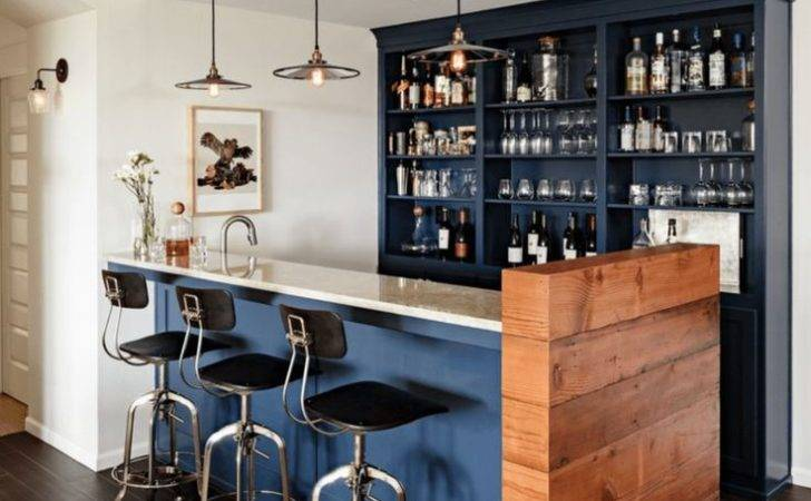 Bar Stools Modern Basement Ideas Blue