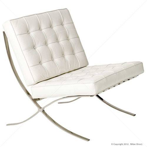 Barcelona Chair White Classic Version Replica Milan Direct