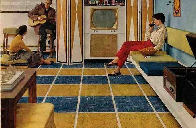 Basement Including Vintage Ken Tile Floors Retro