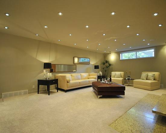 Basement Room Small Windows Recessed Light Fixtures