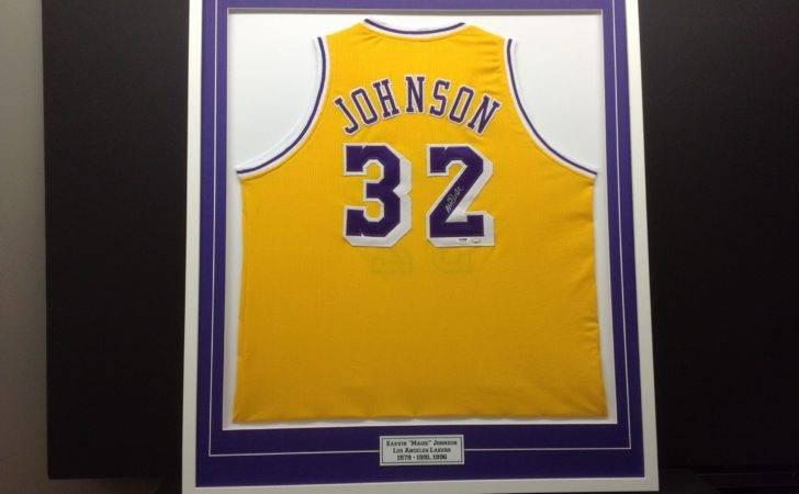 Basketball Jersey Magic Johnson Framed Purple Mat Engraved