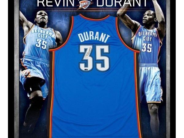 Basketball Nba Kevin Durant Signed Framed Okc Thunder Jersey