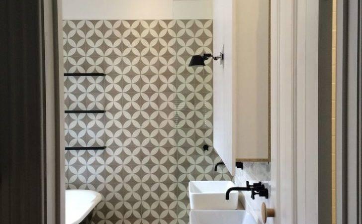 Bathroom Black White Wood Tiling Encaustic Tile Cement Tiles