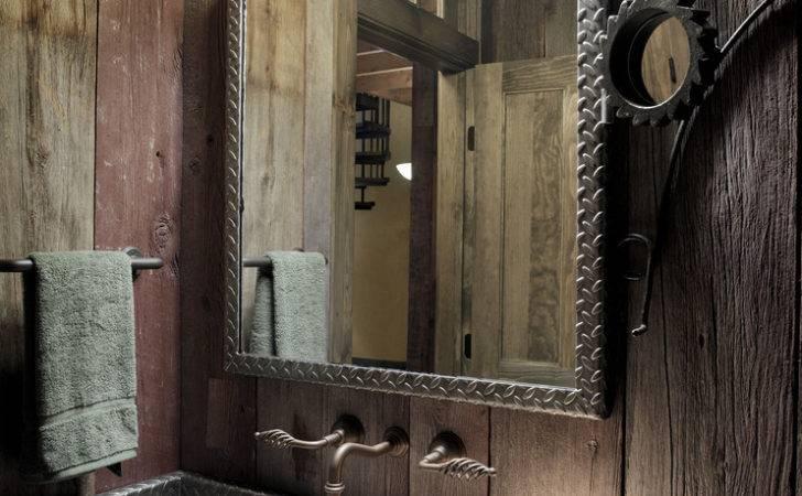 Bathroom Countertop Ideas Powder Room Rustic Diamond Plate Mirror