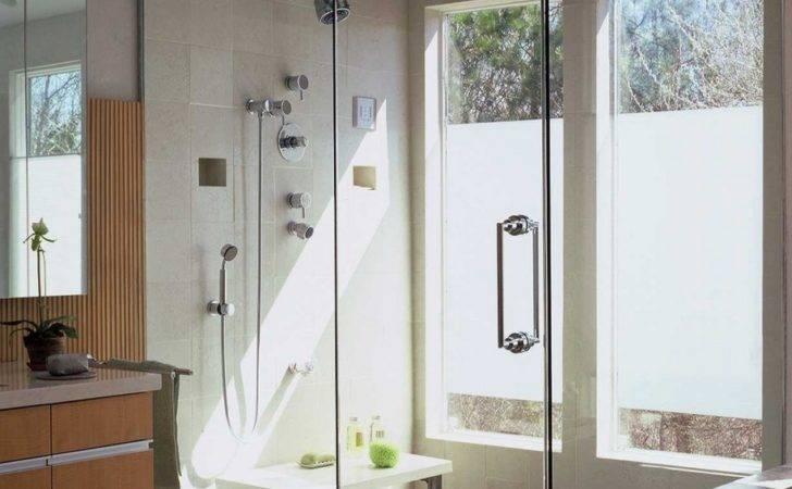 Bathroom Modern Shower Bench Glass Wall