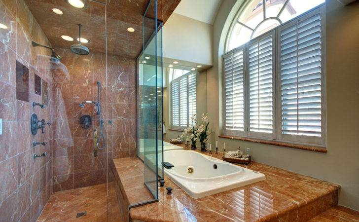Bathroom Red Marble Rainfall Shower Bathtub Enclosure