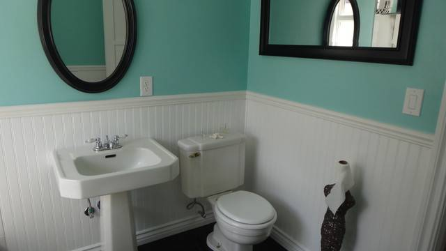 Bathroom Remodel Old Yellow New Blue