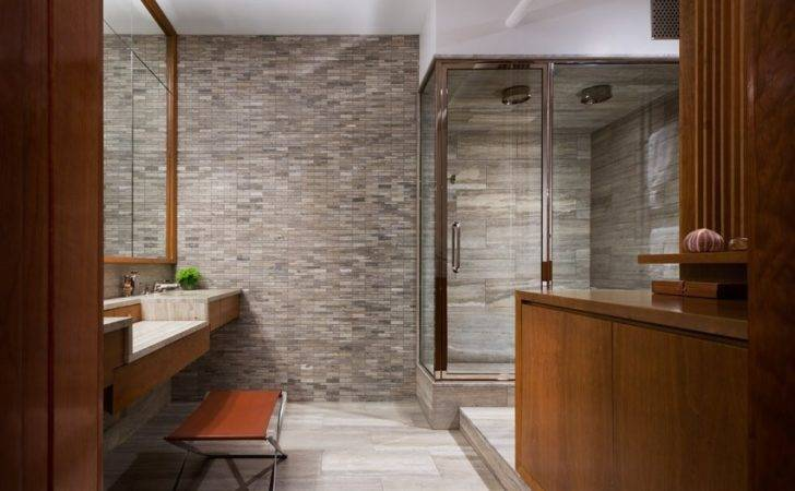 Bathroom Stone Feature Wall Double Shower Interior Design