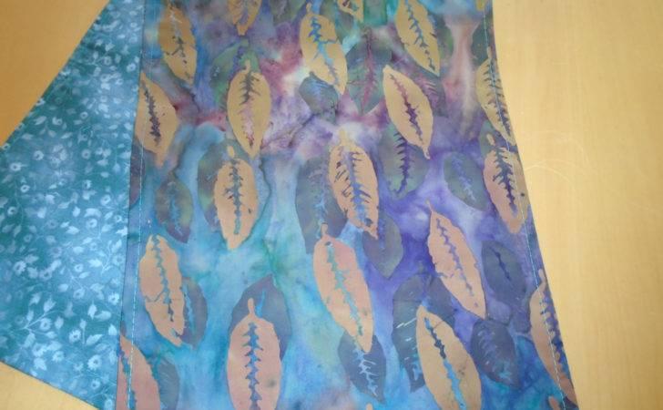 Batik Table Runner Golden Tan Leaves Aqua Magenta Purple