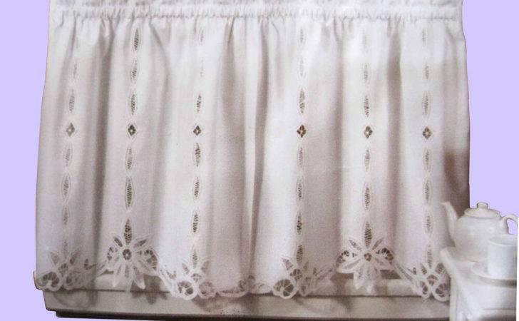 Battenburg Lace Cotton Kitchen Curtain White Caf