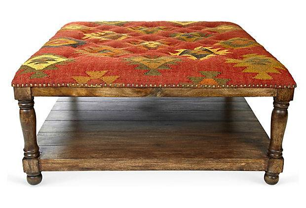 Baxter Kilim Tufted Coffee Table Top Tables One Kings Lane