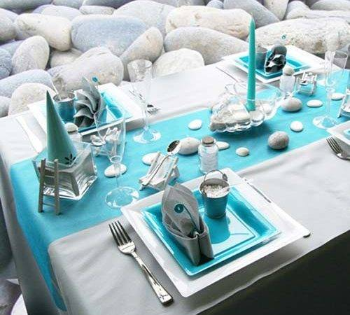 Beach Pebbles Table Decoration White Turquoise Colors