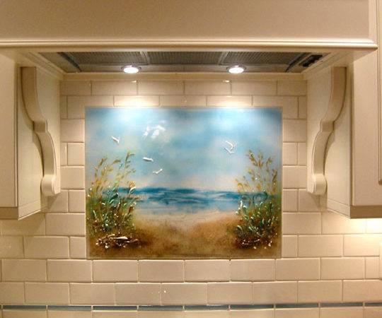 Beach Themed Kitchen Backsplash Path Designer Glass