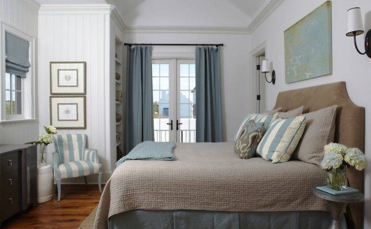 Beachy Blue Brown Bedroom White Beadboard Walls French