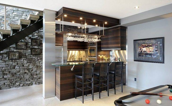 Beautiful Basement Bar Makes Space Under Stairs Design