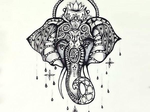Beautiful Buddhist Elephant Tattoo Design