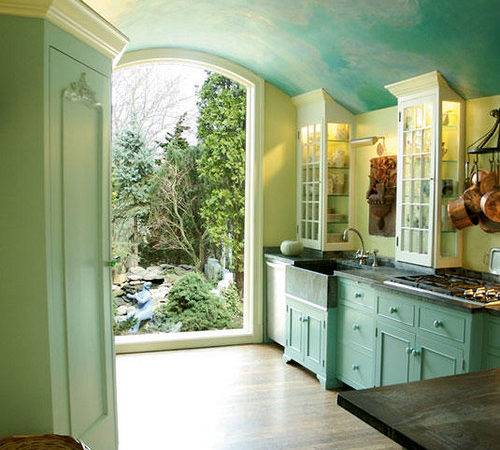Beautiful Sky Blue Kitchen Painted Cabinets Soft Green Walls