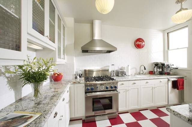 Beautiful White Kitchen Red Floors Plus