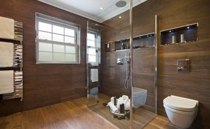 Beautiful Wooden Walls Floors Luxury Walk Shower