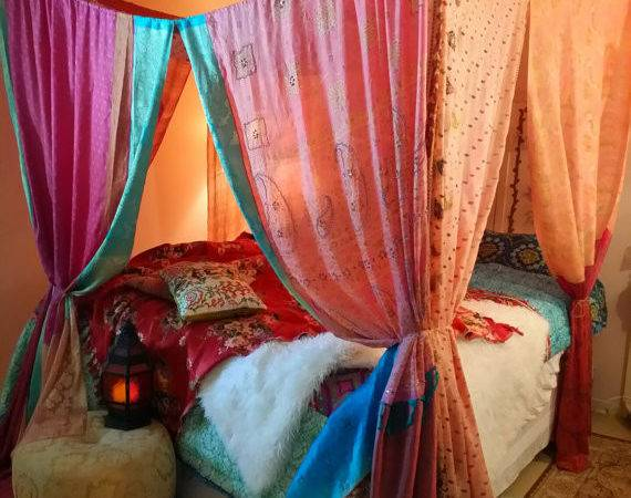 Bed Canopy Made Order Pinks Blues Gypsy Hippie Hippy Hippiewild