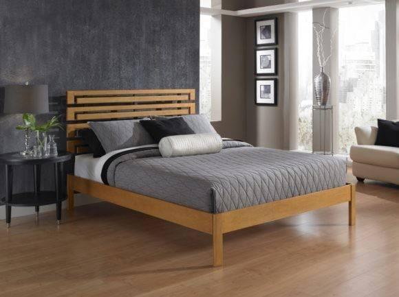 Bed Frame King Black Japanese Style Elegant Flat Platform