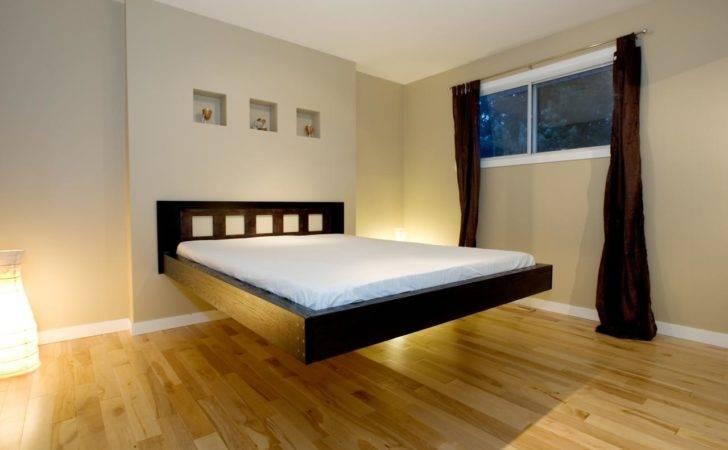 Bed Frame Using White Linen Also Beige Wood Flooring Floating