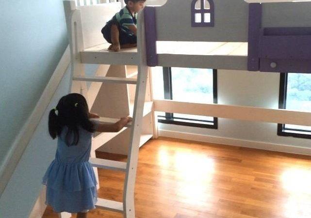Bed Pjt Little House Loft Green Blue Simple Circular