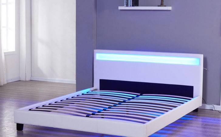 Bedroom Bed Frame Leather Headboard Led Furniture Ebay