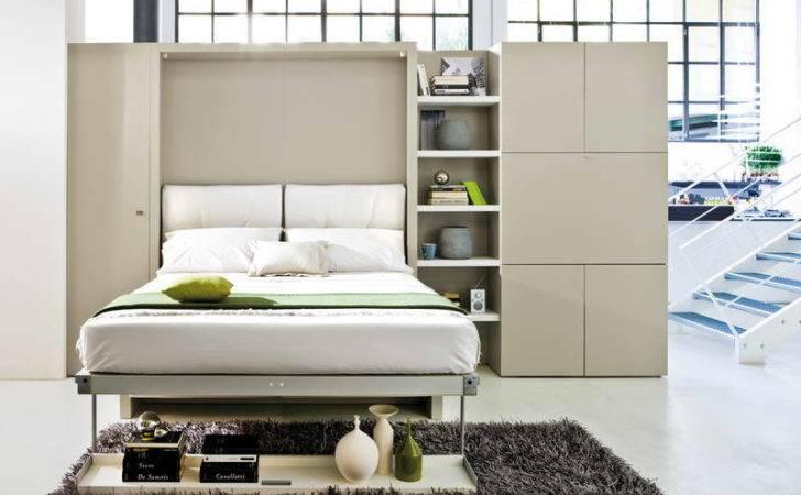 Bedroom Couch White Floor Murphy Bed Efficient