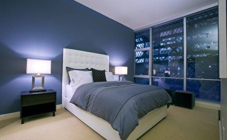 Bedroom Decorating Ideas Navy Blue Wall Color Using Elegant White