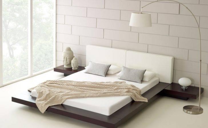 Bedroom Design White Bed Sheet Black Floating Decoration