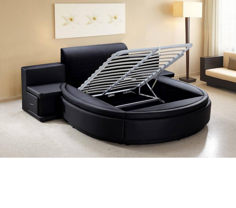 Bedroom Furniture Beds Owen Black Leather Round Bed Storage