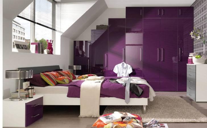 Bedroom Purple Highgloss Wardrobe Wellemobel