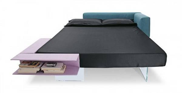 Bedroom Seemingly Floating Bed Book Storage Space Lago