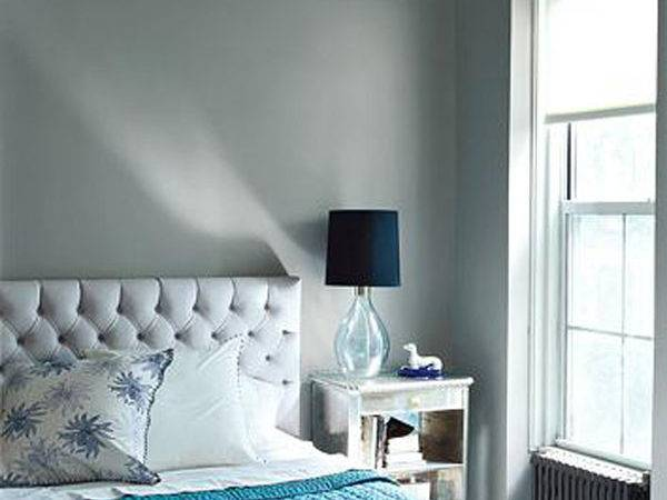 Bedrooms Gray Tufted Headboard Turquoise Blue Throw Bedroom